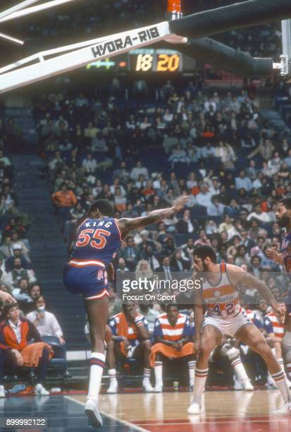 Albert King of the New Jersey Nets in action against the Washington Bullets during an NBA basketball game circa 1983 at the Capital Centre in...