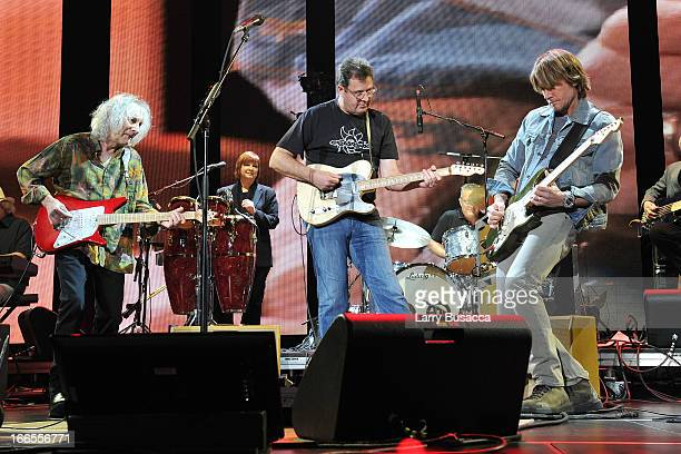 Albert Lee Vince Gill and Keith Urban perform on stage during the 2013 Crossroads Guitar Festival at Madison Square Garden on April 13 2013 in New...
