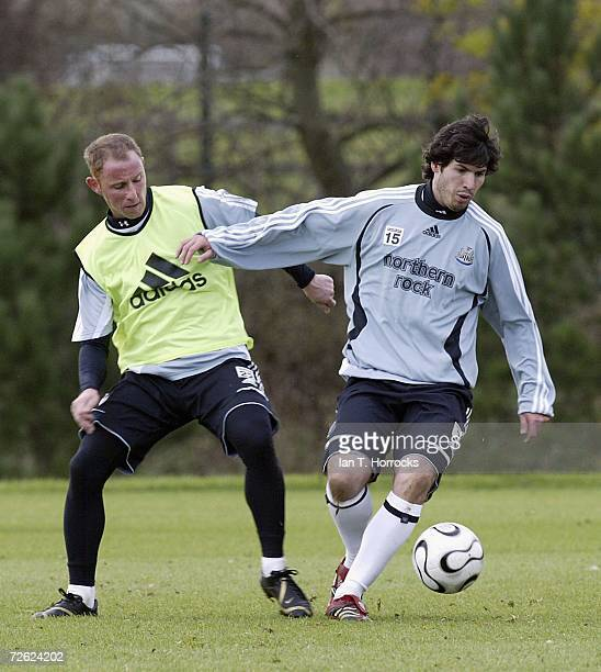 Albert Luque and Nicky Butt in action during a Newcastle United training session on November 22 2006 in NewcastleuponTyne England Newcastle United...