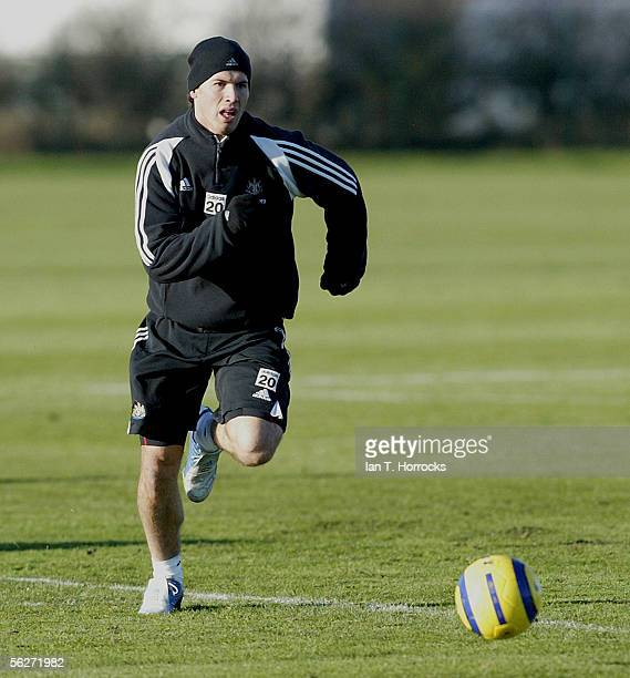 Albert Luque in action during Newcastle United Training on November 25 2005 in Newcastle England