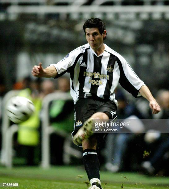 Albert Luque of Newcastle strikes the ball during the UEFA Cup Group H match between Newcastle United and Celta De Vigo at St James' Park on November...