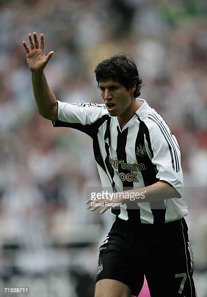 Albert Luque of Newcastle United celebrates after scoring during the preseaon friendly match between Newcastle United and PSV Eindhoven at St James'...