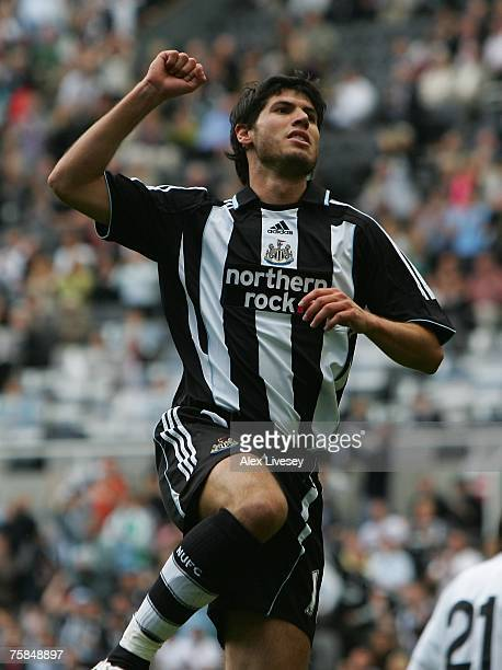 Albert Luque of Newcastle United celebrates after scoring the opening goal during a preseason friendly between Newcastle United and Juventus at St...