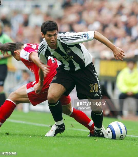 Albert Luque of Newcastle United in action during the Barclaycard Premiership match between Newcastle United and Fulham at St James' Park in...