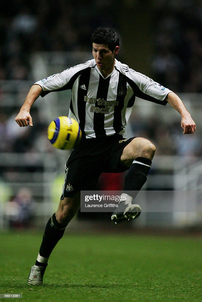 Albert Luque of Newcastle United in action during the Barclays Premiership match between Newcastle United and Middlesbrough on January 2, 2006 at St James Park in Newcastle, England.