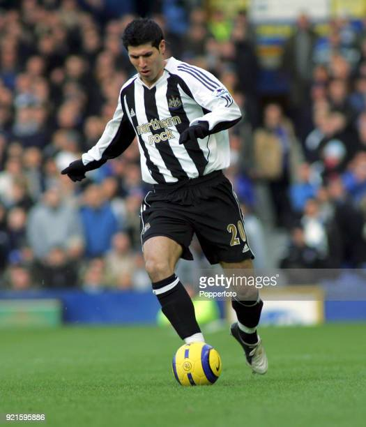 Albert Luque of Newcastle United in action during the Barclays Premiership match between Everton and Newcastle United at Goodison Park in Liverpool...