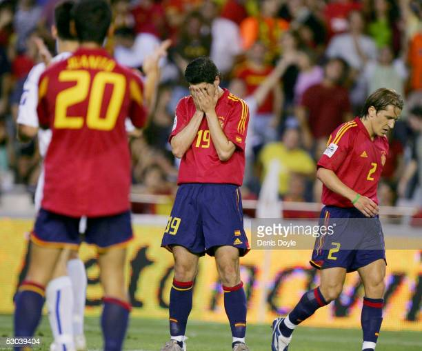 Albert Luque of Spain reacts after missing a shot on goal during a World Cup group 7 qualifier match at the Mestalla Stadium on June 8 2005 in...