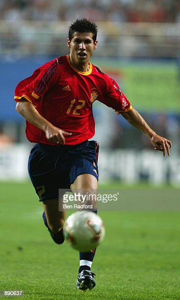 Albert Luque of Spain runs with the ball during the FIFA World Cup Finals 2002 Group B match between Spain and South Africa played at the Daejeon...