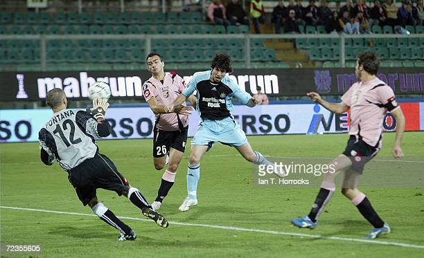 Albert Luque scored the first goal for Newcastle United during the group H UEFA Cup game between Palermo and Newcastle United at the Stadio Renzo...