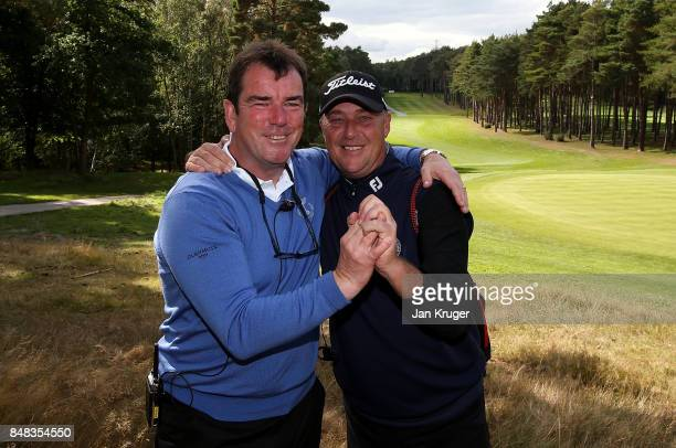 Albert MacKenzie Captain of the Great Britain and Ireland PGA Cup team celebrate the win with Jon Bevan during the singles matches on the final day...
