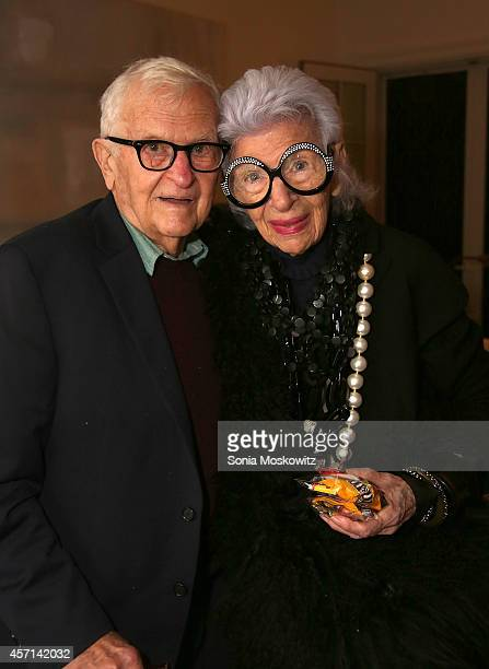 Albert Maysles and Iris Apfel attend the 'Iris' Premiere at the Southampton Regal Cinema on October 12 2014 in Southampton New York