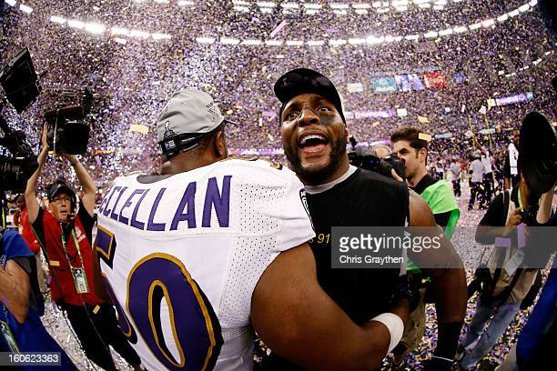 Albert McClellan and Ray Lewis of the Baltimore Ravens celebrate after defeating the San Francisco 49ers during Super Bowl XLVII at the MercedesBenz...