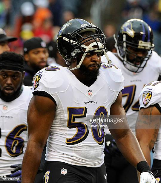 Albert McClellan of the Baltimore Ravens warms up during a game against the Chicago Bears on November 17 2013 at Soldier Field in Chicago Illinois