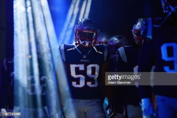 Albert McClellan of the New England Patriots walks through the tunnel before the game against the Minnesota Vikings at Gillette Stadium on December 2...