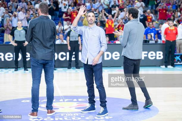 Albert Miralles Juan Carlos Navarro and Alex Mumbru during the FIBA Basketball World Cup Qualifier match Spain against Latvia at Wizink Center in...