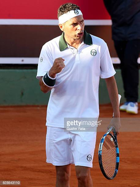 Albert Montanes from Spain celebrates after a winning point during the match between Albert Montanes and Salvatore Caruso for Millennium Estoril Open...