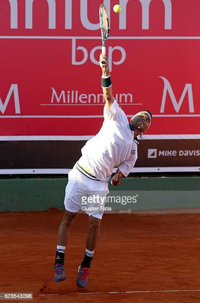 Albert Montanes from Spain in action during the match between Albert Montanes and Salvatore Caruso for Millennium Estoril Open at Clube de Tenis do...