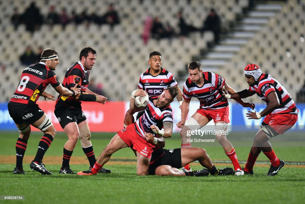 Albert Nikoro of Counties Manukau is tackled during the round five Mitre 10 Cup match between Canterbury and Counties Manukau on September 13, 2017 in Christchurch, New Zealand.