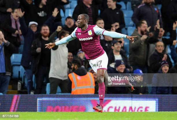 Albert Odamah of Villa celebrates after he scores the opening goal the Sky Bet Championship match between Aston Villa and Sunderland at Villa Park on...