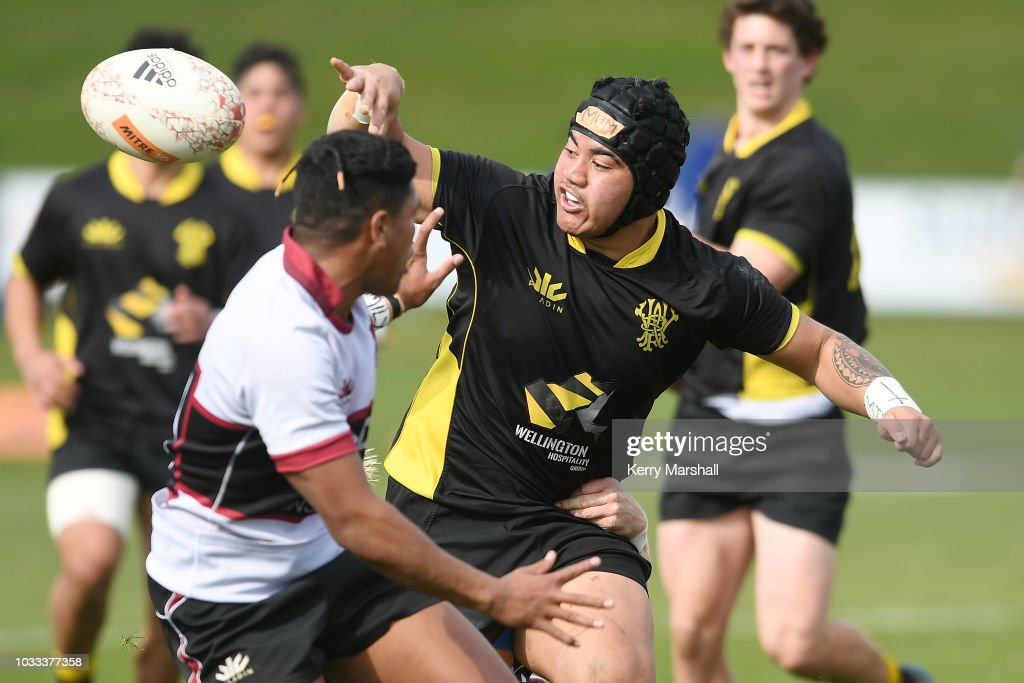 Albert Polu of Wellington gets a pass away during the Jock Hobbs U19 Rugby Tournament on September 15, 2018 in Taupo, New Zealand.