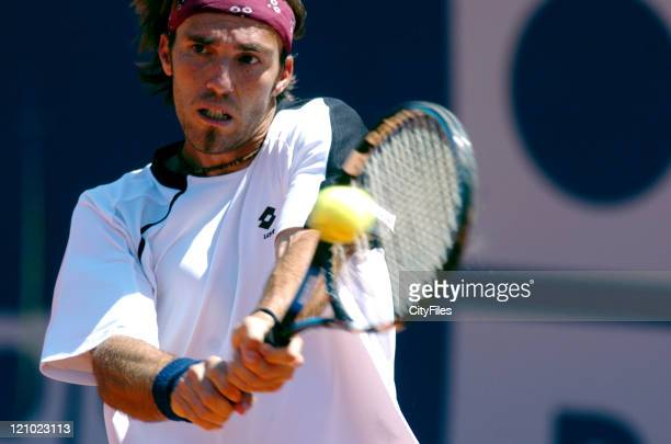 Albert Portas in action defeating Justin Gimelstob 64 63 in the quarterfinals of the Estoril Open 2006 at Estadio Nacional in Estoril Portugal on May...