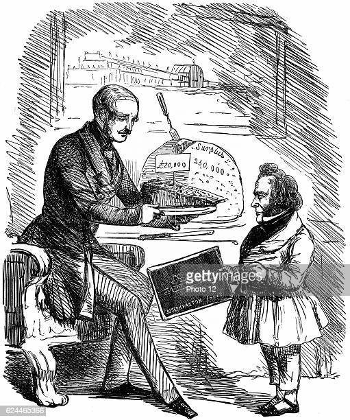 Albert Prince Consort of Queen Victoria handing Joseph Paxton designer of the Crystal Palace_a L20000 slice of 'Solid Pudding' from the surplus funds...