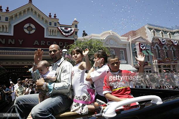 Albert Pujols and his family is seen in riding in a Chevy car down Main Street in Disneyland during the 2010 Major League Baseball AllStar Red Carpet...