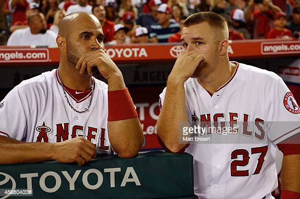Albert Pujols and Mike Trout of the Los Angeles Angels of Anaheim during the game against the Houston Astros on July 5 2014 at Angel Stadium of...
