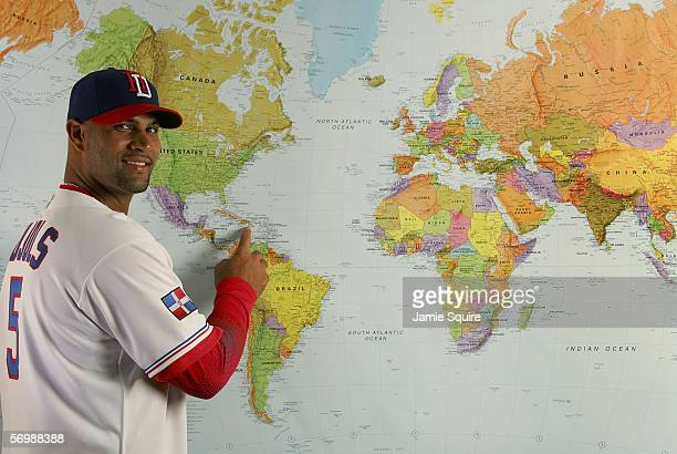Albert Pujols of the Dominican Republic poses during World Baseball Classic photo day on March 3 2006 at Osceola County Stadium in Kissimmee Florida