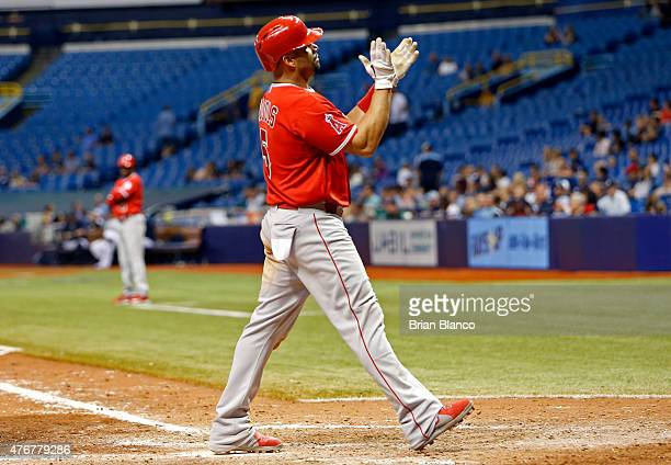 Albert Pujols of the Los Angeles Angels celebrates his tworun home run during the ninth inning of a game against the Tampa Bay Rays on June 11 2015...
