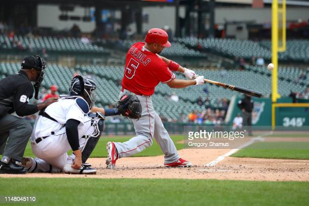 Albert Pujols of the Los Angeles Angels hits a third inning solo home run to reach 2000 career RBI's while playing the Detroit Tigers at Comerica...
