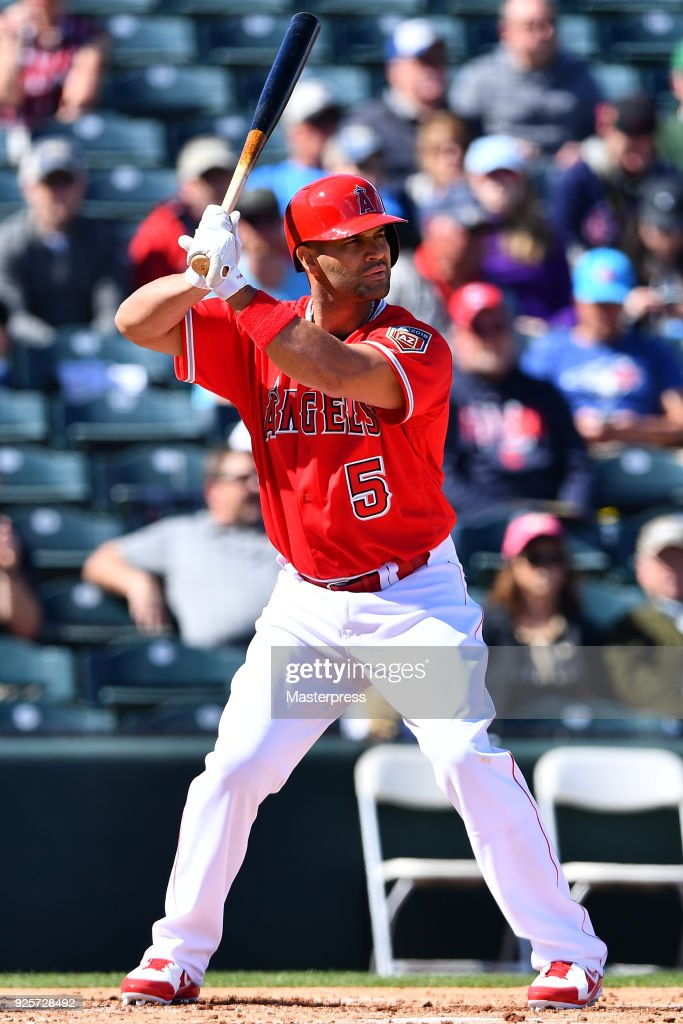 Albert Pujols #5 of the Los Angeles Angels in action during the game between Cleveland Indians and Los Angeles Angels on February 28, 2018 in Tempe, Arizona.