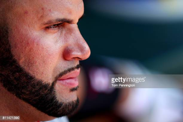 Albert Pujols of the Los Angeles Angels looks on as the Los Angeles Angels take on the Texas Rangers in the top of the fourth inning at Globe Life...