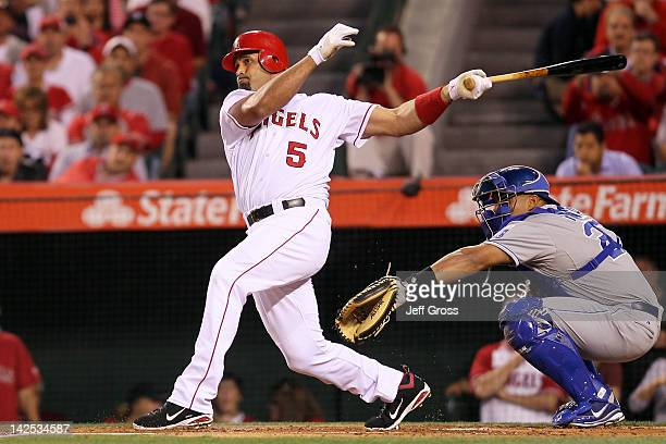 Albert Pujols of the Los Angeles Angels of Anaheim at bat in the first inning against the Kansas City Royals on Opening Day of the 2012 MLB season at...