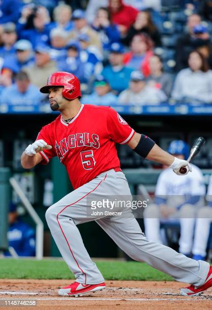 Albert Pujols of the Los Angeles Angels of Anaheim at the plate in the first inning during the game against the Kansas City Royals at Kauffman...