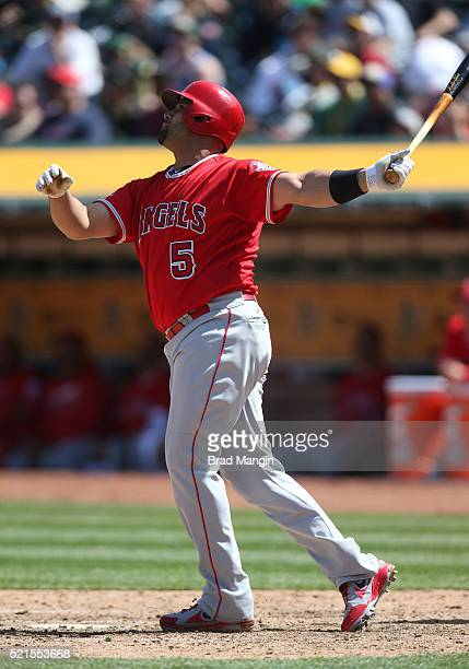 Albert Pujols of the Los Angeles Angels of Anaheim bats against the Oakland Athletics during the game at the Oakland Coliseum on Wednesday April 13...