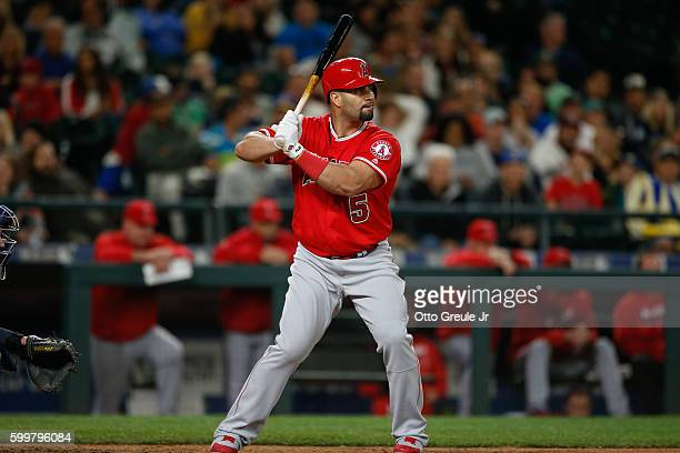 Albert Pujols of the Los Angeles Angels of Anaheim bats against the Seattle Mariners in the eighth inning at Safeco Field on September 3 2016 in...
