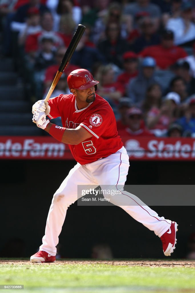 Albert Pujols #5 of the Los Angeles Angels of Anaheim bats during a game against the Cleveland Indians at Angel Stadium on April 4, 2018 in Anaheim, California.
