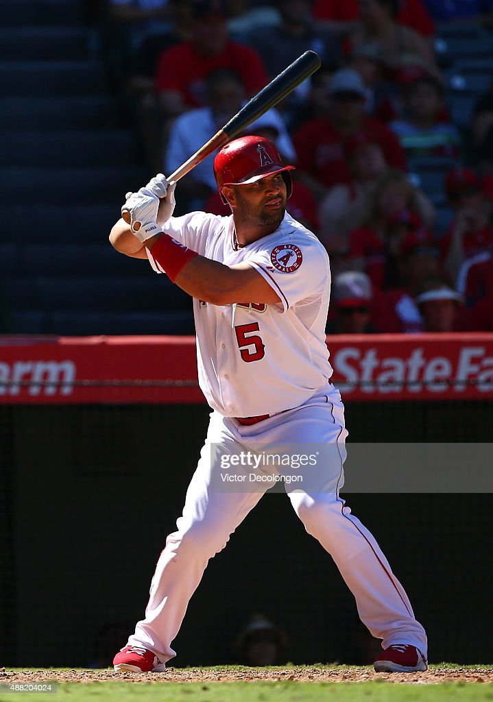 Albert Pujols #5 of the Los Angeles Angels of Anaheim bats in the eighth inning during the MLB game against the Houston Astros at Angel Stadium of Anaheim on September 13, 2015 in Anaheim, California. The Astros defeated the Angels 5-3.