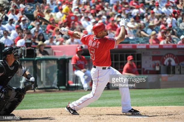 Albert Pujols of the Los Angeles Angels of Anaheim hits a homerun in the sixth inning against the Chicago White Sox at Angel Stadium of Anaheim on...