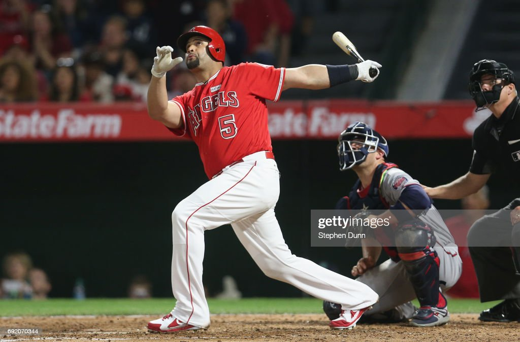 Albert Pujols #5 of the Los Angeles Angels of Anaheim hits career home run number 600, a grand slam in the fourth inning against the Minnesota Twins at Angel Stadium of Anaheim on June 3, 2017 in Anaheim, California.