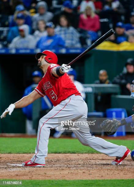 Albert Pujols of the Los Angeles Angels of Anaheim in the fifth inning during the game against the Kansas City Royals at Kauffman Stadium on April 27...
