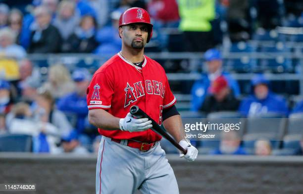 Albert Pujols of the Los Angeles Angels of Anaheim in the fourth inning during the game against the Kansas City Royals at Kauffman Stadium on April...