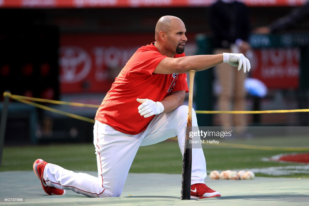 Albert Pujols #5 of the Los Angeles Angels of Anaheim looks on prior to a game against the Cleveland Indians at Angel Stadium on April 3, 2018 in Anaheim, California.