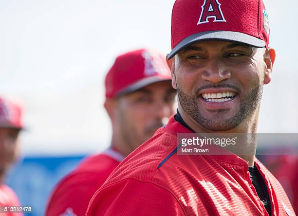 Albert Pujols of the Los Angeles Angels of Anaheim smiles during spring training on March 1 2016 at Tempe Diablo Stadium in Tempe Arizona