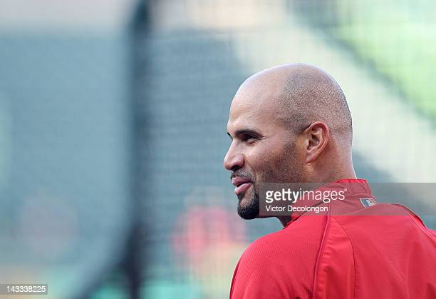 Albert Pujols of the Los Angeles Angels of Anaheim waits to take his turn in the batting cage prior the MLB game against the Baltimore Orioles at...