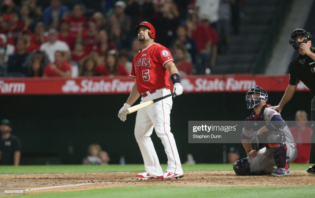 Albert Pujols #5 of the Los Angeles Angels of Anaheim watches as his career home run number 600 clears the wall, a grand slam in the fourth inning against the Minnesota Twins at Angel Stadium of Anaheim on June 3, 2017 in Anaheim, California.