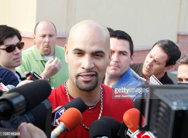 Albert Pujols of the St Louis Cardinals answers questions from the media at Roger Dean Stadium on February 17 2011 in Jupiter Florida