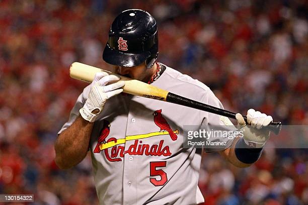 Albert Pujols of the St Louis Cardinals at bat during Game Four of the MLB World Series against the Texas Rangers at Rangers Ballpark in Arlington on...