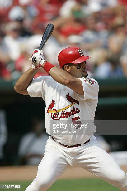 Albert Pujols of the St Louis Cardinals at the plate during a game against the Houston Astros at Busch Stadium in St Louis Mo on July 16 2005 St...
